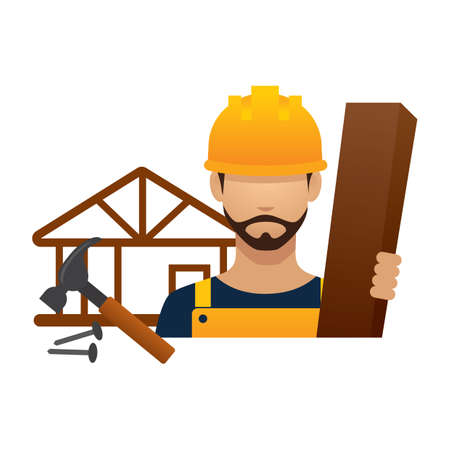 hark: construction worker with wood and tools Illustration