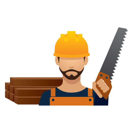 hark: construction worker with hand saw Illustration