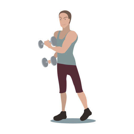 human beings: man doing exercise with dumbbells