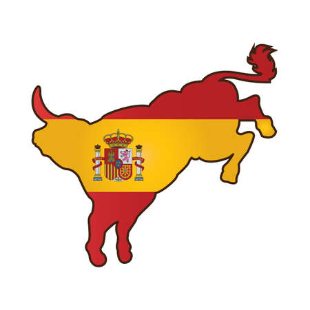 festive occasions: bull with spain flag