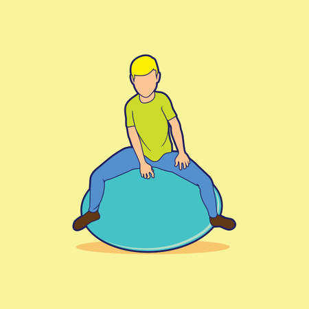 exercise ball: boy sitting on exercise ball Illustration