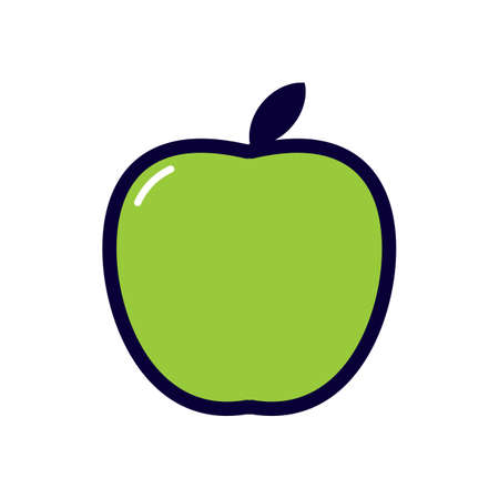 basic food: green apple Illustration