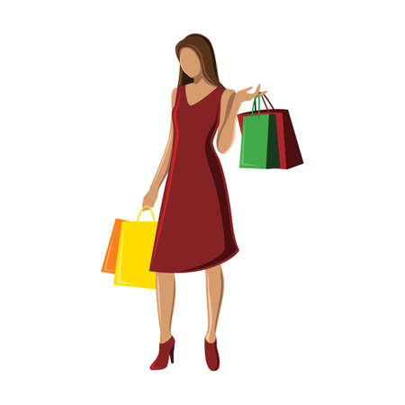 human beings: woman with shopping bags