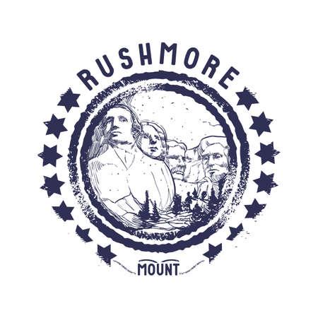 grunge rubber stamp of rushmore mount Illustration