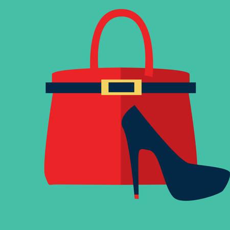 bolso y zapato de tacón alto