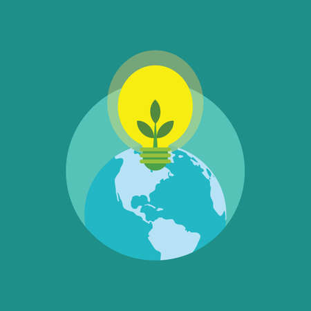 bioenergy: earth and bulb with leaves Illustration