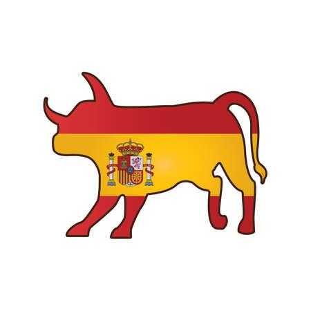 spanish flag: bull with spain flag