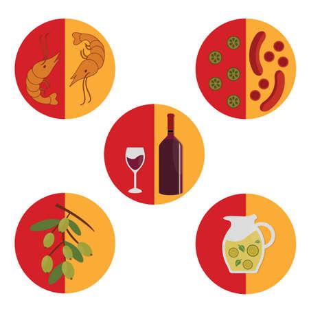 spanish tradition: set of spanish food icons Illustration
