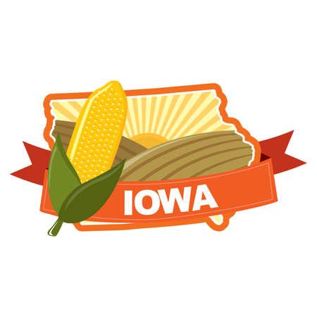 iowa: map of iowa Illustration