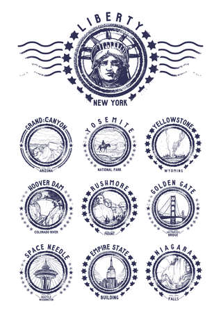 empire state: set of us grunge rubber stamps Illustration