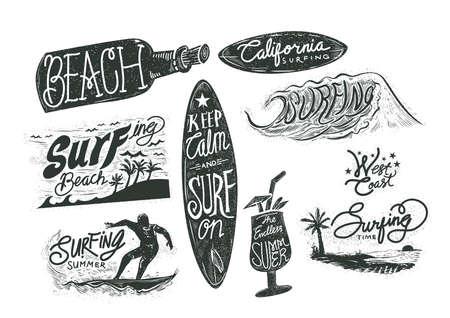 surfing beach: set of surfing beach typographies