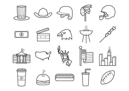 american football helmet set: set of usa icons Illustration