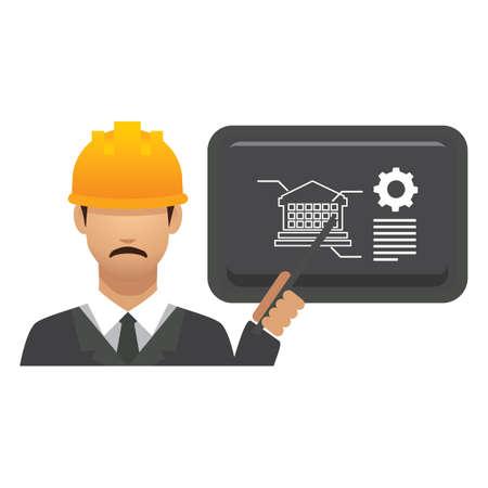hark: engineer with presentation Illustration