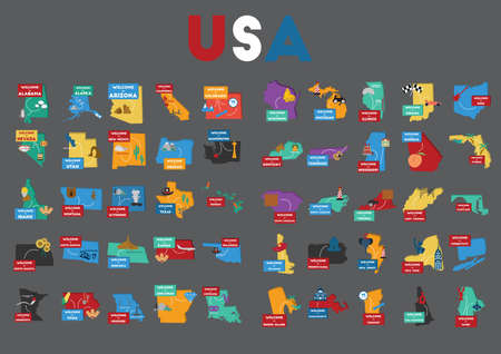 set of usa state maps