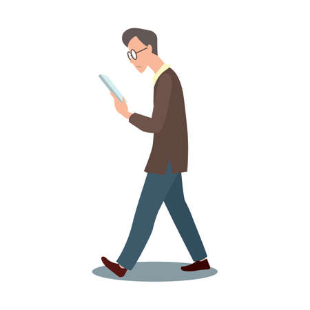 old people reading: man walking with book