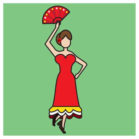 spanish fan: flamenco dancer Illustration