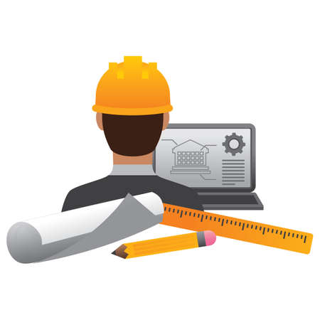 beings: construction worker with laptop and tools