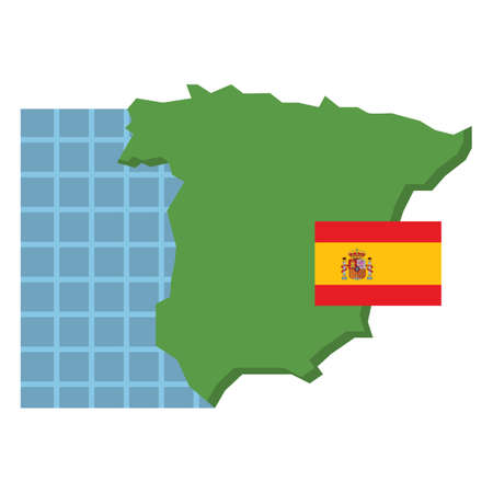 spain map: spain map with flag Illustration