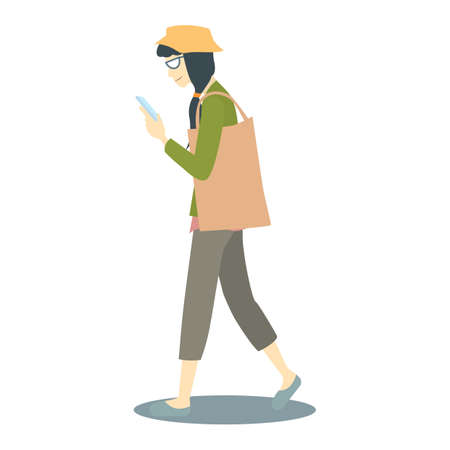 texting: girl walking and texting on mobile