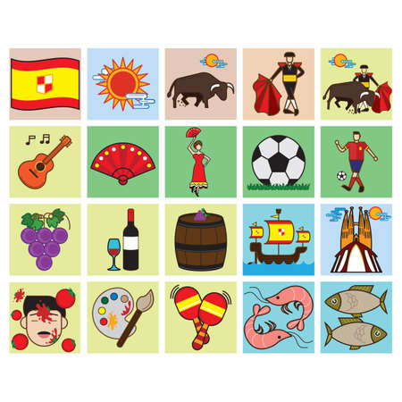 spanish fan: set of spain general icons
