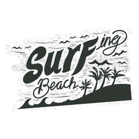 surfing beach: surfing beach typography