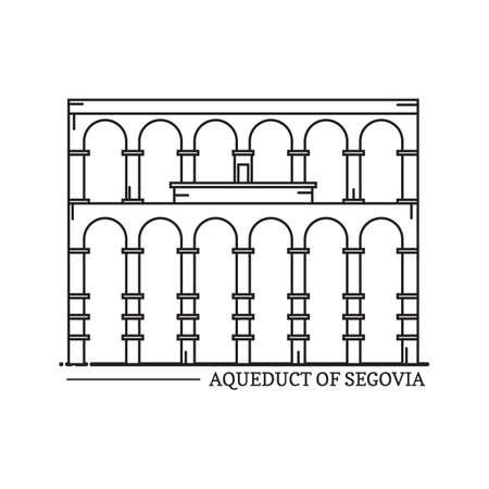 segovia: aqueduct of segovia Illustration