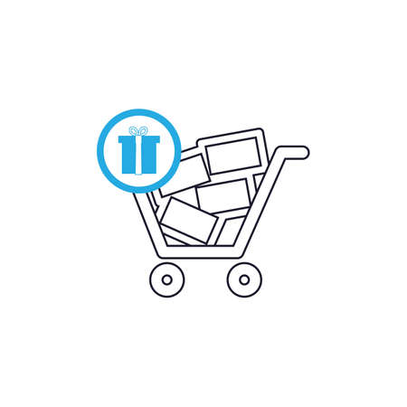 lightweight: shopping cart with gift box