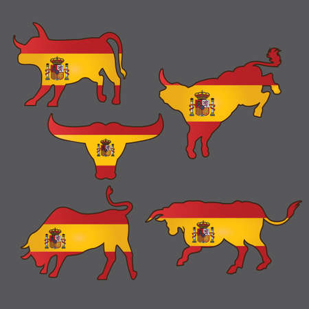 set of bulls with spain flag
