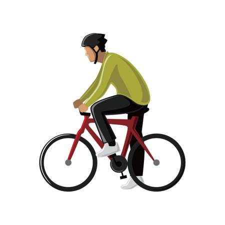 human beings: man cycling
