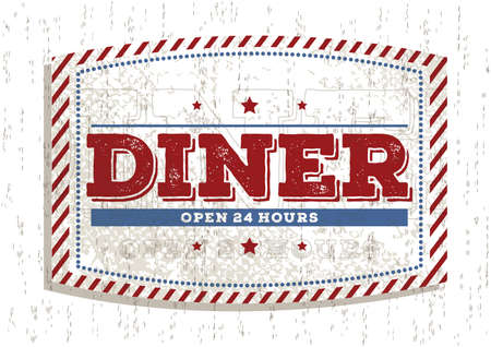 hrs: dinner open 24 hours sign Illustration