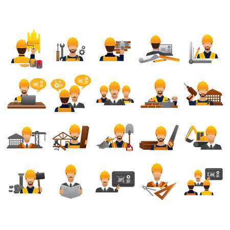 construction people icon set