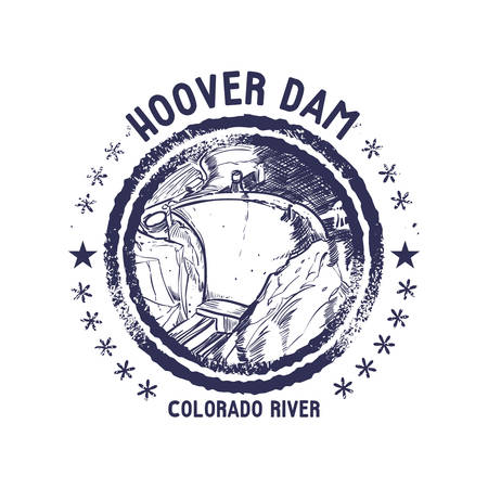 hoover: grunge rubber stamp of colorado river