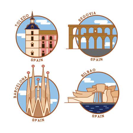 bilbao: set of spain monuments