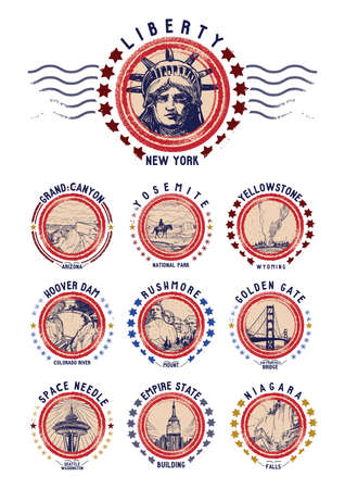 colorado mountains: set of us grunge rubber stamps Illustration