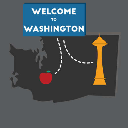 space needle: welcome to washington state Illustration