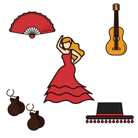 danseuse flamenco: ensemble de espagne icônes générales