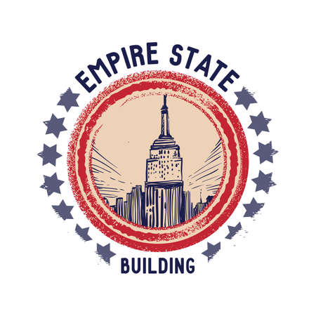 empire state: grunge rubber stamp of empire state building