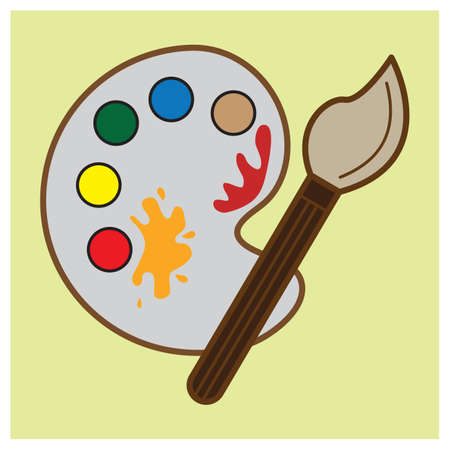 paint palette: paint palette with brush