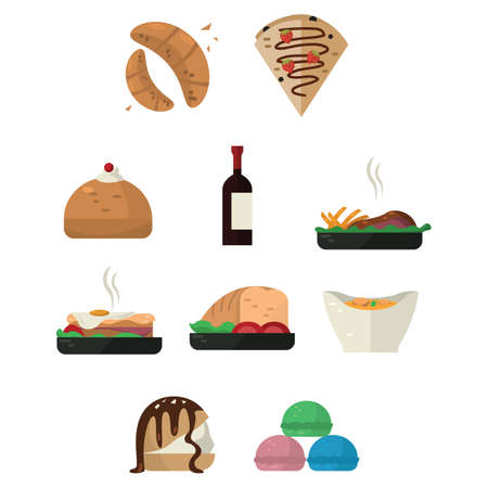 collection of french food and drink
