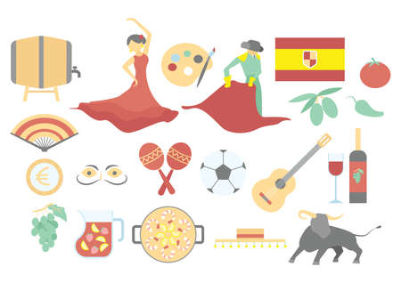 set of spanish icons Stock Illustratie
