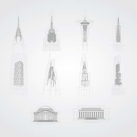transamerica: collection of famous usa landmarks