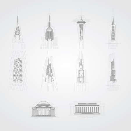 collection of famous usa landmarks