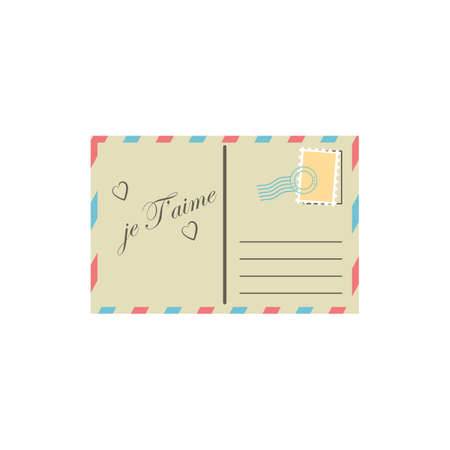 perforated stamp: je taime postcard