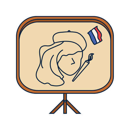 easel: french woman artist on easel board Illustration