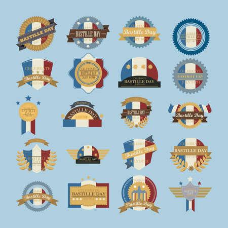the bastille: collection of bastille day labels Illustration