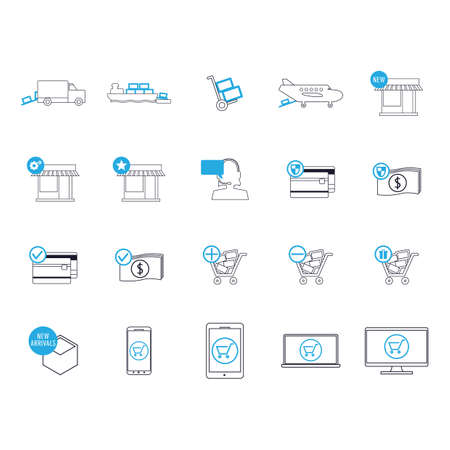laptop mobile: shipping and logistic icons