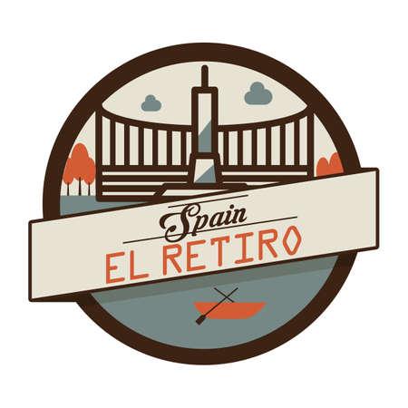 famous place: el retiro label Illustration
