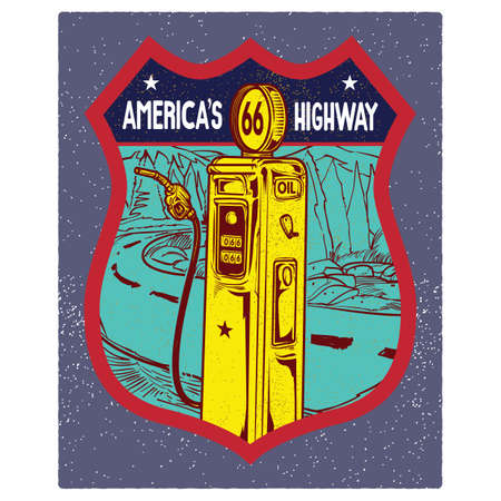 the americas: 66 americas highway road sign