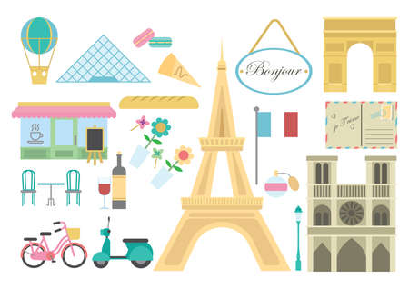 bonjour: set of france icons