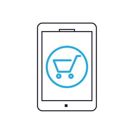 cart: tab with shopping cart Illustration